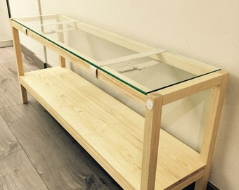 Maia Bookcas, firm, furniture storage, small library, auxiliary furniture for TV, low base unit in glass and wood