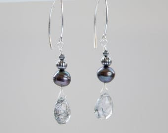 Tourmalted Quartz and Pearl, Silver Earrings