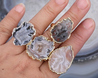 Prong Setting Ring Silver Overlay Handmade Ring Gift For Her 8.5 USA Solar Agate Geode Ring Ring Size Solar Agate Druzy Agate Ring