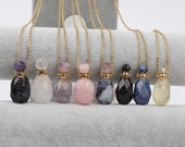 Classic Perfume Bottle Pendant,Faceted Gemstones Lapis,Amethyst,Fluorite Perfume Charms Gold Stainless Steel Chain Healing Crystal Necklace