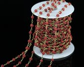 5mm Red Lava Round Beads Rosary Chains Crafts Bracelet,10 Feet Lava Chain Plated Bronze Wire Wrapped Chains Making Necklace Wholesale