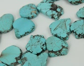 Large Sky Blue Turquoise Slab Beads strand Bulk,Top Drilled Howlite Turquoise Gemstone Beads Pendant,Turquoise Magnesite Slice Beads Jewelry