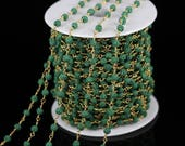 10feet Green Lava Chains Making Necklace,5mm Round Lava Rosary Chain Wire Wrapped Plated Bronze Links Chains Crafts Braclet