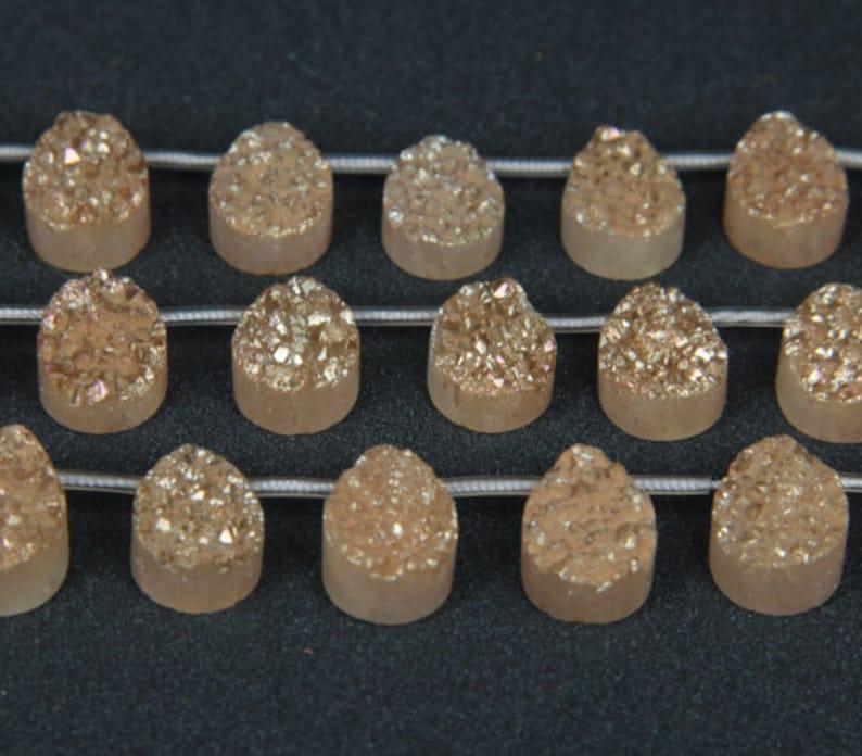 13x18mm/&11pcs Champagne Titanium Druzy Agate Flat Oval Beads Cabochons Bulk,Raw Drusy Quartz Geode Drilled Pendants Strand Necklace Supplies