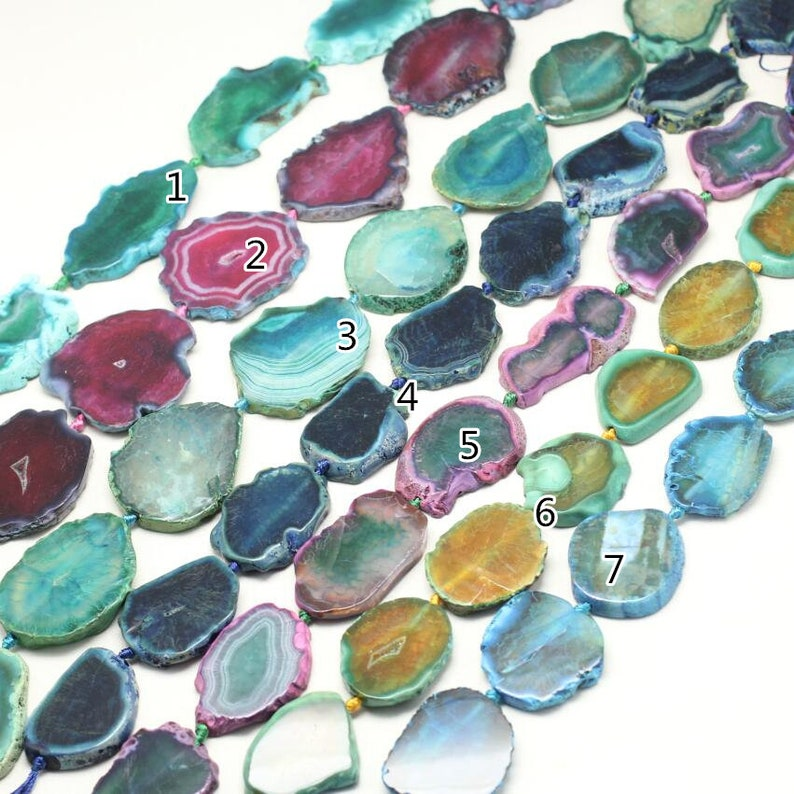 7 Color choice,Full strand 40-50mm Large Natural Dragon Veins Agate Freeform Slab Loose Beads Pendants,Raw Agate Drilled Slice Charms Supply