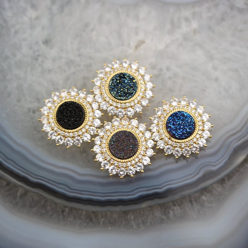 3-10pcs Natural Druzy Agate Coin Shaped with Holes Charms Findings,Plated Real Gold Copper Inlay Zircon CZ Drusy Pendants Necklace Bulk