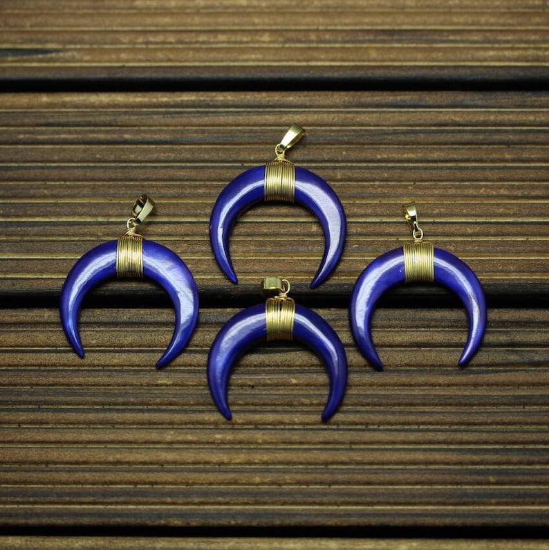 8e138a16de5672 3-10pcs WHITE Double Horn Pendant Crescent Moon Lapis Lazuli | Etsy