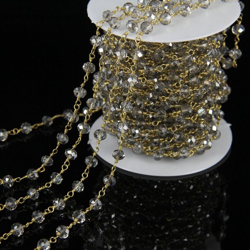 Petit gris cristal à verre à cristal facettes Rondelle perles de chaînes, plaqué or chapelet Style fil enroulé à la main de perles chaînes trouver fournitures, 10 pieds/lot 646fae