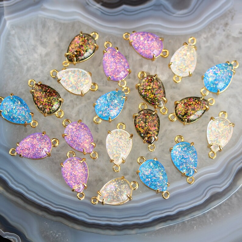 3-10pcs Teardrop Imitation Opal Connector Handmade Opal Bracelet,10x14mm Drop Synthetic Opal Charms Links Necklace Summer Jewelry