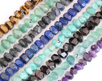 Full strand Middle Drilled Faceted Nugget Loose Beads Pendants Fashion Jewelry,Natural Gemstones Cut Spacers Charms DIY Bracelet Necklace