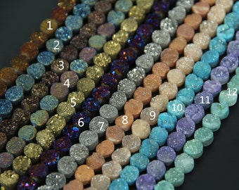 10mm Natural Titanium Druzy Agate Center Drilled Coin Pendants Cabochons strand,Raw Drusy Quartz Gems Flat Round Beads Necklace,more color