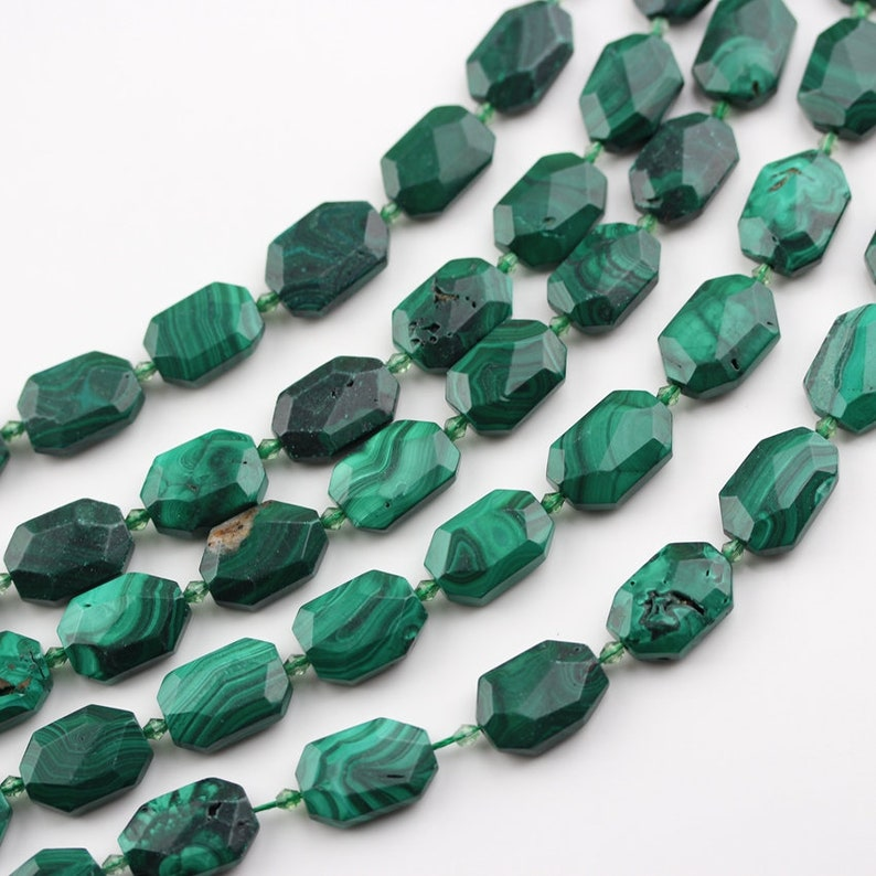 Full strand Malachite Jasper Cut Slice Loose Beads Charms DIY Bracelet Jewelry,Bulk Natural Gemstones Middle Drilled Faceted Slab Beads Gems