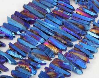 Full Strand Blue Titanium Quartz Crystal Points Bulk,Raw Crystals Tusk Stick Beads Penants Jewelry Supplies