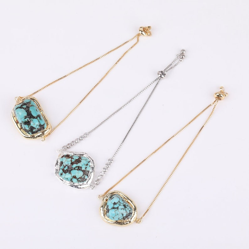 5pcs Wholesale Turquoise Slab Beads Connectors Making Bracelet Findings,Rock Turquoise Howlite Wire Silver Gold Copper Links Stones Charms