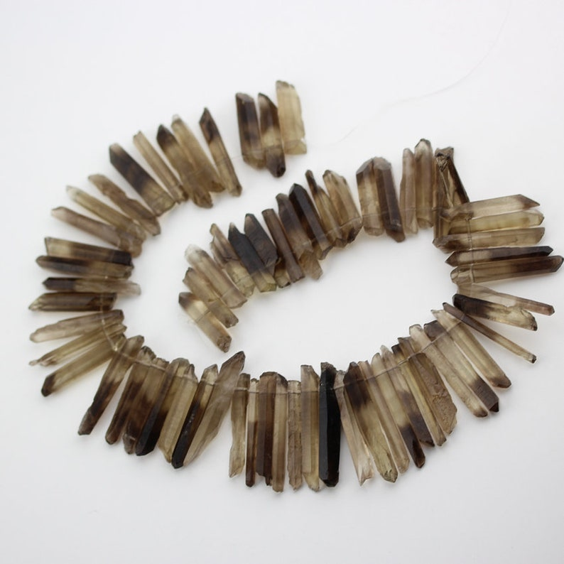 Full strand Slender Natural Smoky Quartz Briolettes Stick Points Pendants,Top Drilled Faceted Tusk Spike Beads Gemstone Raw Crystals Charms