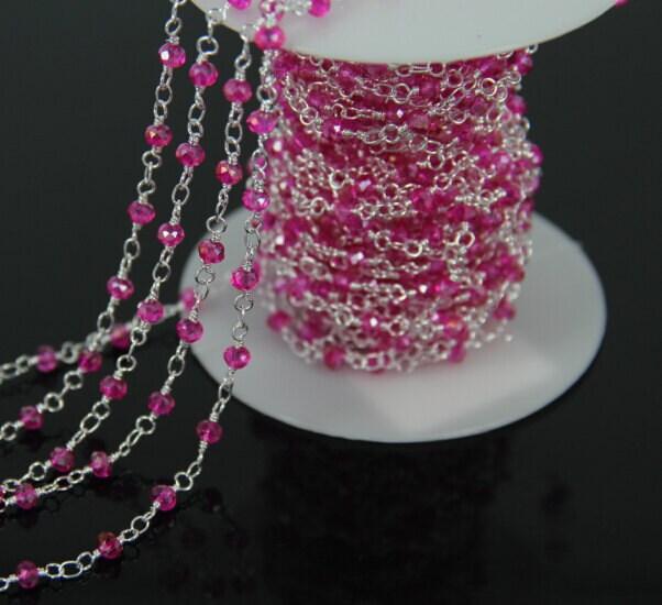 10 pieds de chaîne Fushcia verre à facettes facettes à Rondelle perles bricolage, chapelet Style plaqué argent fil enroulé perles chaîne collier de fournitures d'artisanat ad119d