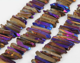 Full Strand Rough Rainbow Purple Quartz Crystal Stick Beads Points Bulk,Top Drilled Raw Crystals Loose Beads Pendants Supplies Necklaces