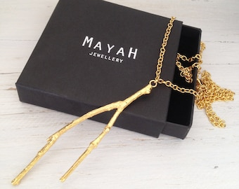Gold Twig Necklace Long