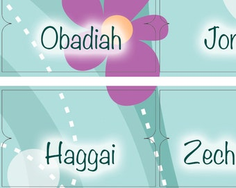 Bible Accessories Printable Tabs DYI Stickers Whimsical Flowers Digital Instant Download 66 Books Old New Testament Nathalie Lesage 2017BT3