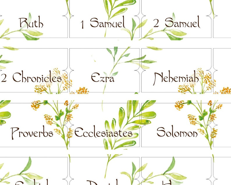 Bible Tabs Bible Index Set Download Bible book labels Catholic tabs bible  accessories paper tabs Spring Flowers Digital Design 2019BT15