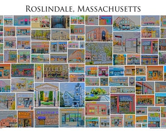 """Roslindale Massachusetts - A Framed 13x19"""" Photographic Collage of Roslindale Village Store Fronts and Landmarks"""