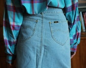 Vintage super cool blue jeans skirt by LEE retro 90s denim skirt size S M