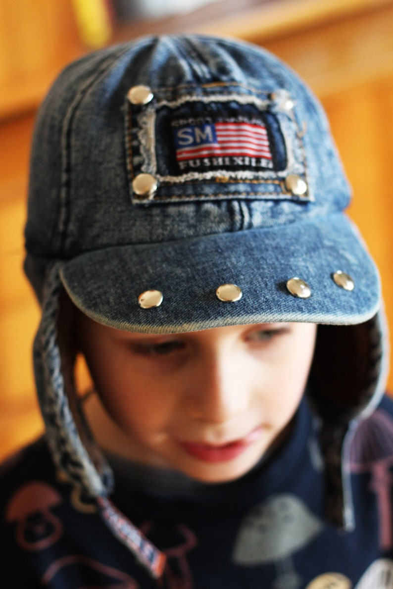 Vintage blue denim cap with oldschool colorful US  flag patch marble jeans 90s vintage  size 3-5 years