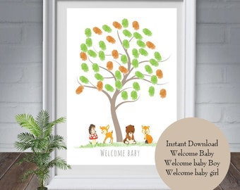 Baby memory book woodland etsy fingerprint baby showerwoodland animals guest bookbaby boy baby girl home decor digital you print yourself solutioingenieria Image collections