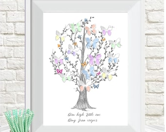 fingerprint, baby shower butterfly tree, wall art, nursery decor, personalised,alternative Guest book, aim high litttle one, digital print