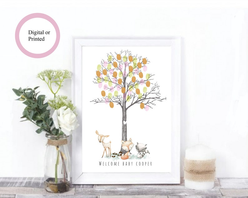 Ink Gift Baby Shower Personalised Cloud Fingerprint Tree Guestbook Tree A4//A3