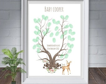 fingerprint tree, Baby shower, woodland animal Deer personalised,guest book,christening gift, nursery decor, A4 -11 x 14   print
