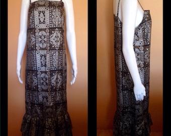 Amazing vintage Polished cotton 80's Australian designer apron column dress in metallic tribal print