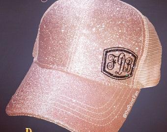 df6c57f0a70 Custom Monogram Glitter CC Ponytail Cap