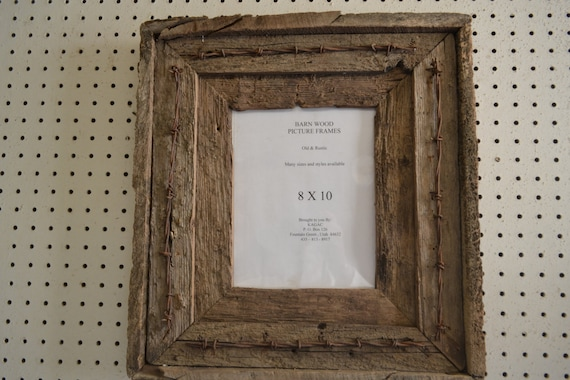 Rustic Barnwood Picture Frame 8 X 10 Double W Barbed Wire Etsy