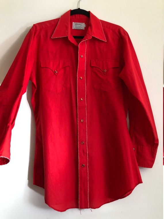 HOLD FOR Darren/Vintage bright cherry red western… - image 6