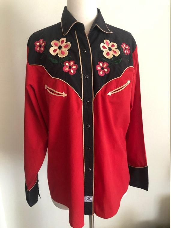 Vintage women's Ely 1878 western shirt/flowers/emb