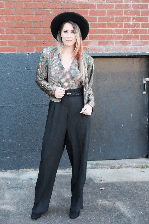 Vintage sequin jumpsuit/80s/90's/sequin jacket/Siz