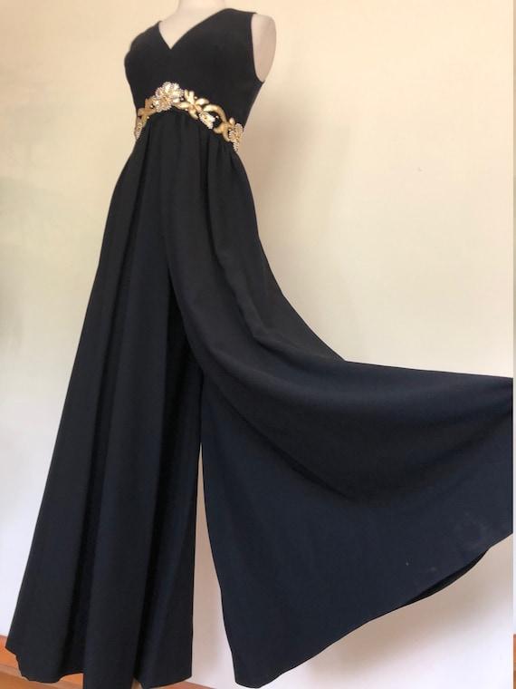 Vintage Union made black wide legged jumpsuit/meta