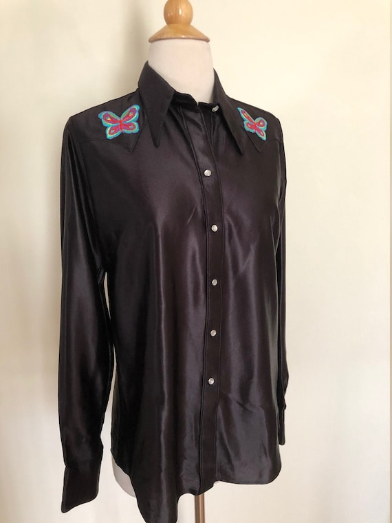 Vintage women's 70's black satin butterfly western