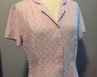 Vintage dusty rose pink button down short sleeve blouse/Size:Medium