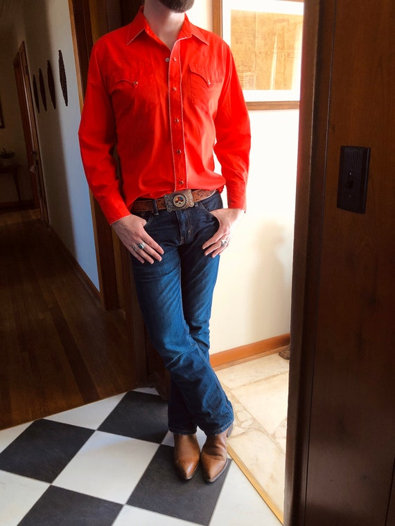 HOLD FOR Darren/Vintage bright cherry red western… - image 2