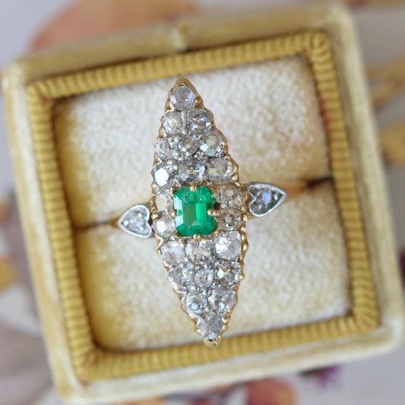 Victorian Emerald Cut Green Emerald & Diamond Nave