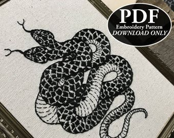 PDF Instant Download Pattern for Double Headed Snake Embroidery