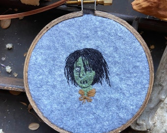 Small Billy Butcherson embroidery in a 3 inch hoop