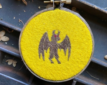Small Jersey Devil embroidery in a 3 inch hoop