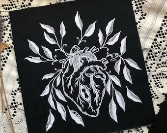 Silk Screen Sew On heart lock patch