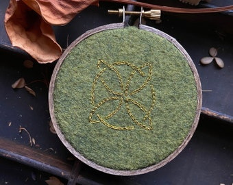 Small Celtic knot embroidery in a 3 inch hoop