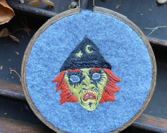 Small vintage witch mask embroidery