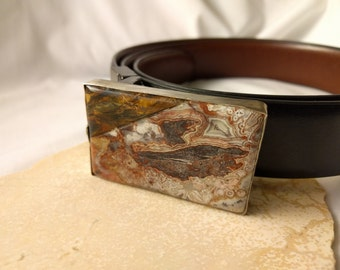 """Crazy lace agate, tiger's eye and silver reversible men's professional belt 38"""""""