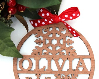 personalised christmas bauble wooden snowflake xmas gift
